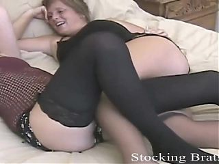 Sucking toes in stockings gets us so wet