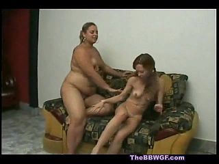 Fat BBW Lesbian getting tongue ass and pussy fucked by GF-4