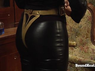 Dominant Lesbian Madame Uses Whip And Strapon To Humiliate Slaves